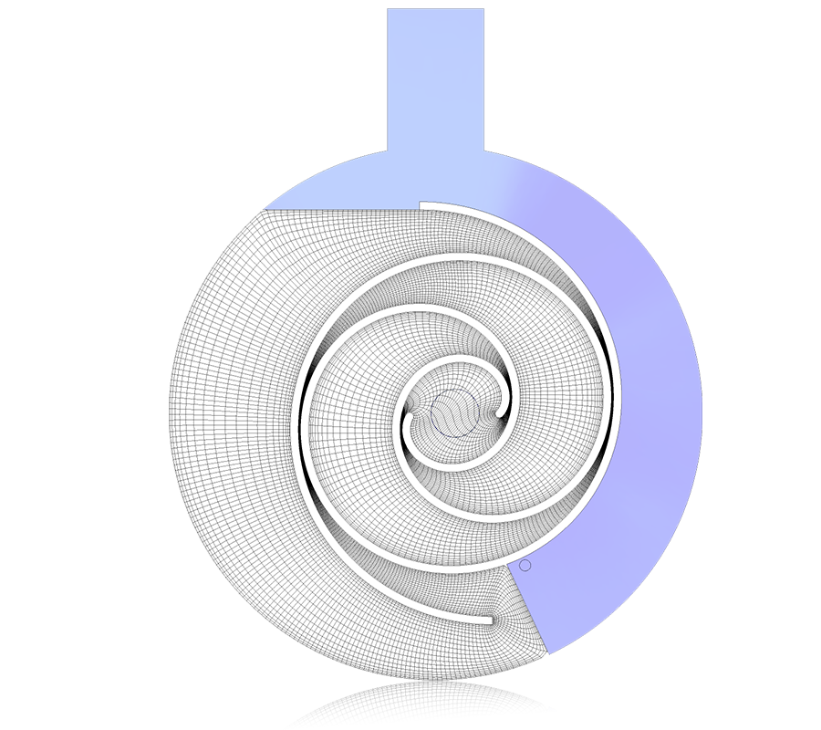 2D view of rotor and stator meshes for scroll compressors