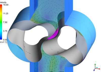 Velocity and cavitation in a rotary lobe pump