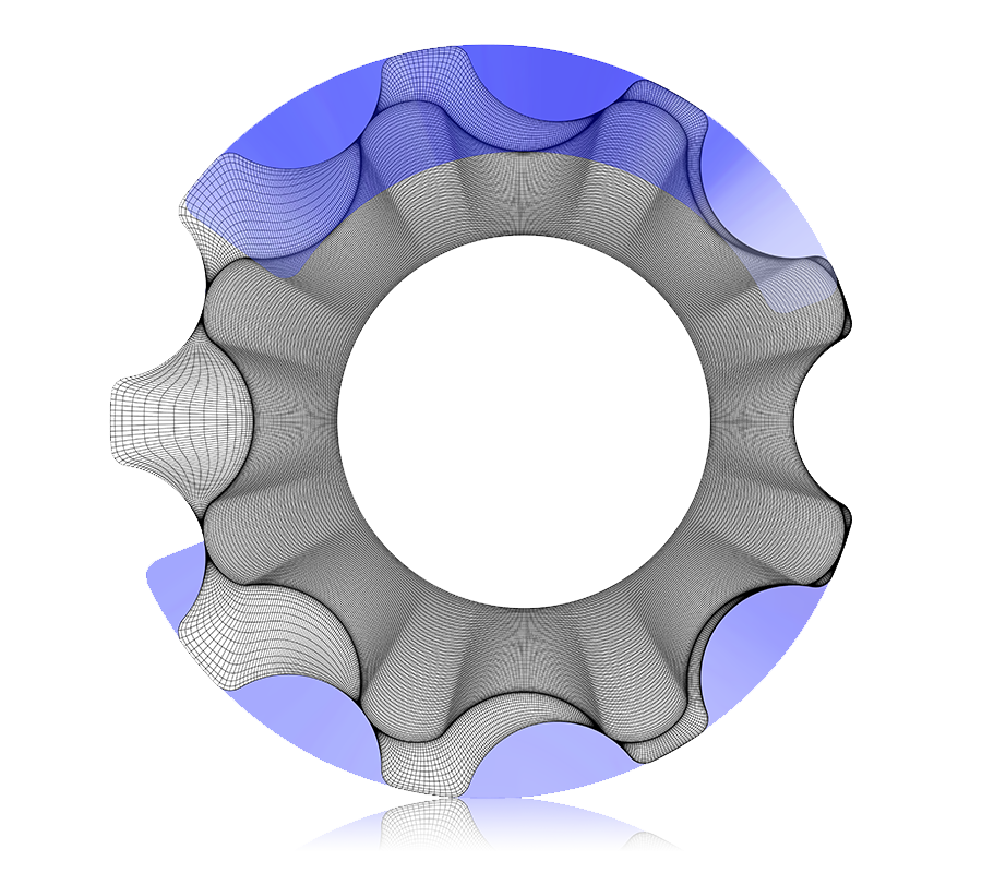 CFD Analysis of Gerotor Pumps: 2D view of rotor meshes