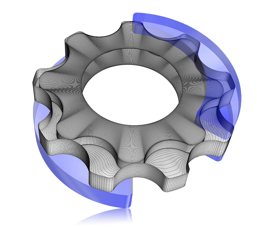 CFD Analysis of Gerotor Pumps: 3D view of rotor meshes
