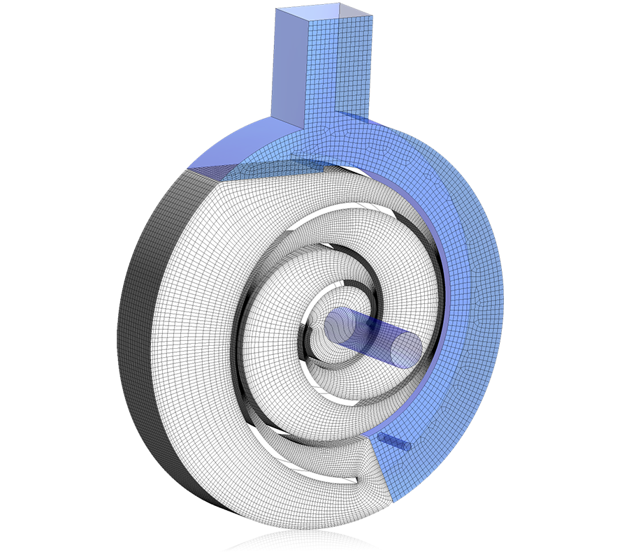 3D view of rotor and stator meshes for scroll compressors