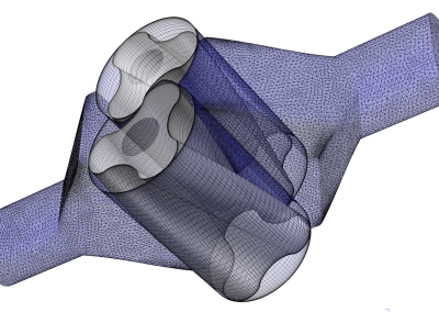 3D view of the mesh for stator and rotors of a lobe blower