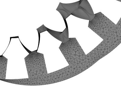 Detail view of mesh on a 2D plane