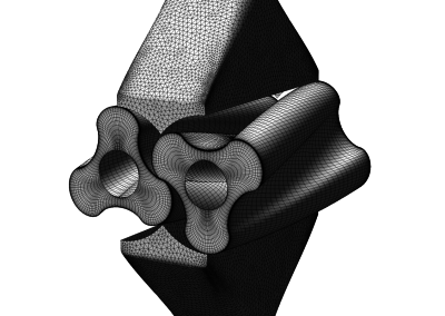 Example for a 3D mesh of a rotary lobe pump