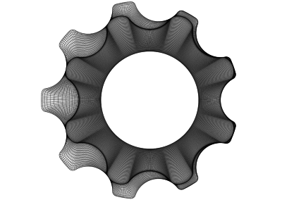2D view on a mesh for a gerotor pump