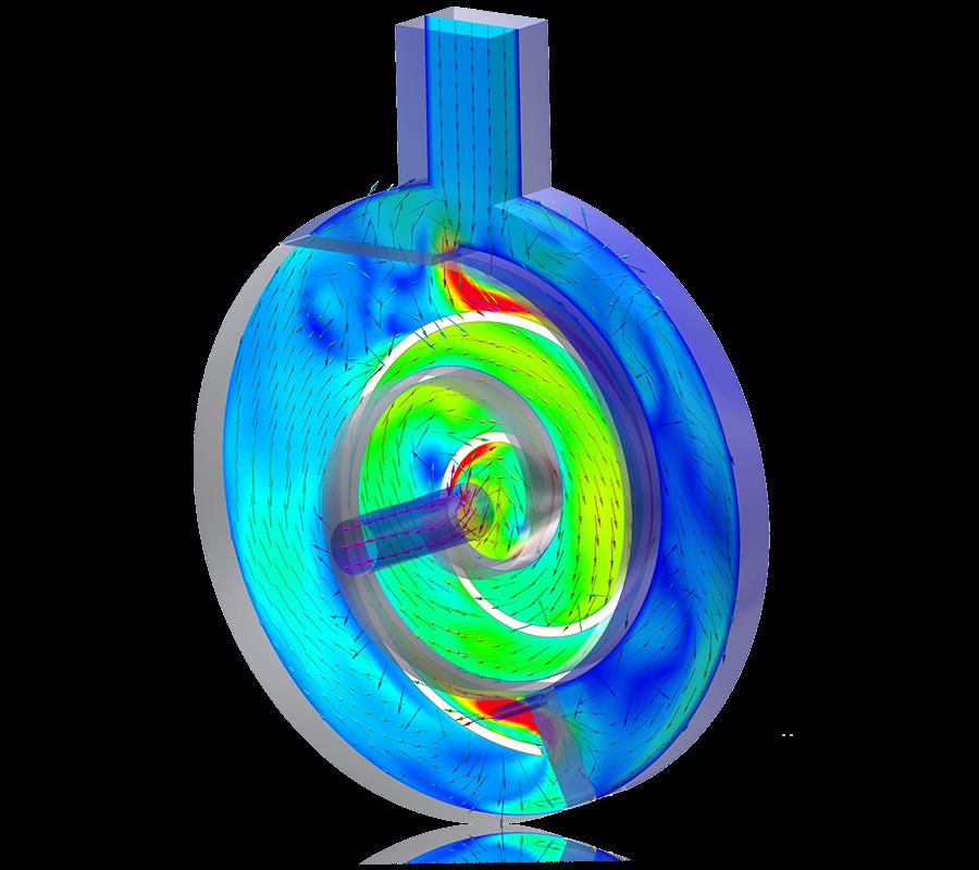 Vizualisation of velocity distribution in scroll compressors