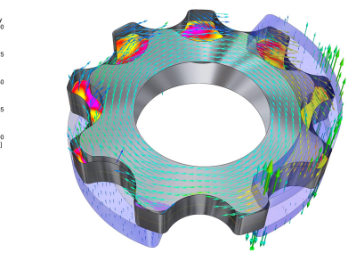 Visualization of velocity and cavitation in a gerotor pumpn
