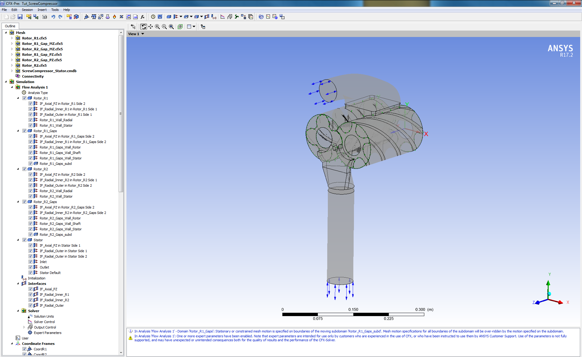 Simulation Template for Screw Compressor in ANSYS CFX-Pre