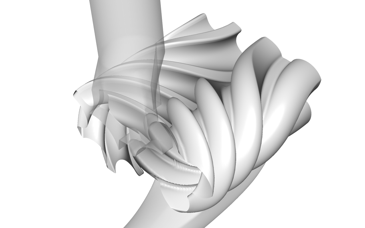 3D-visualization of rotor profile with variable pitch