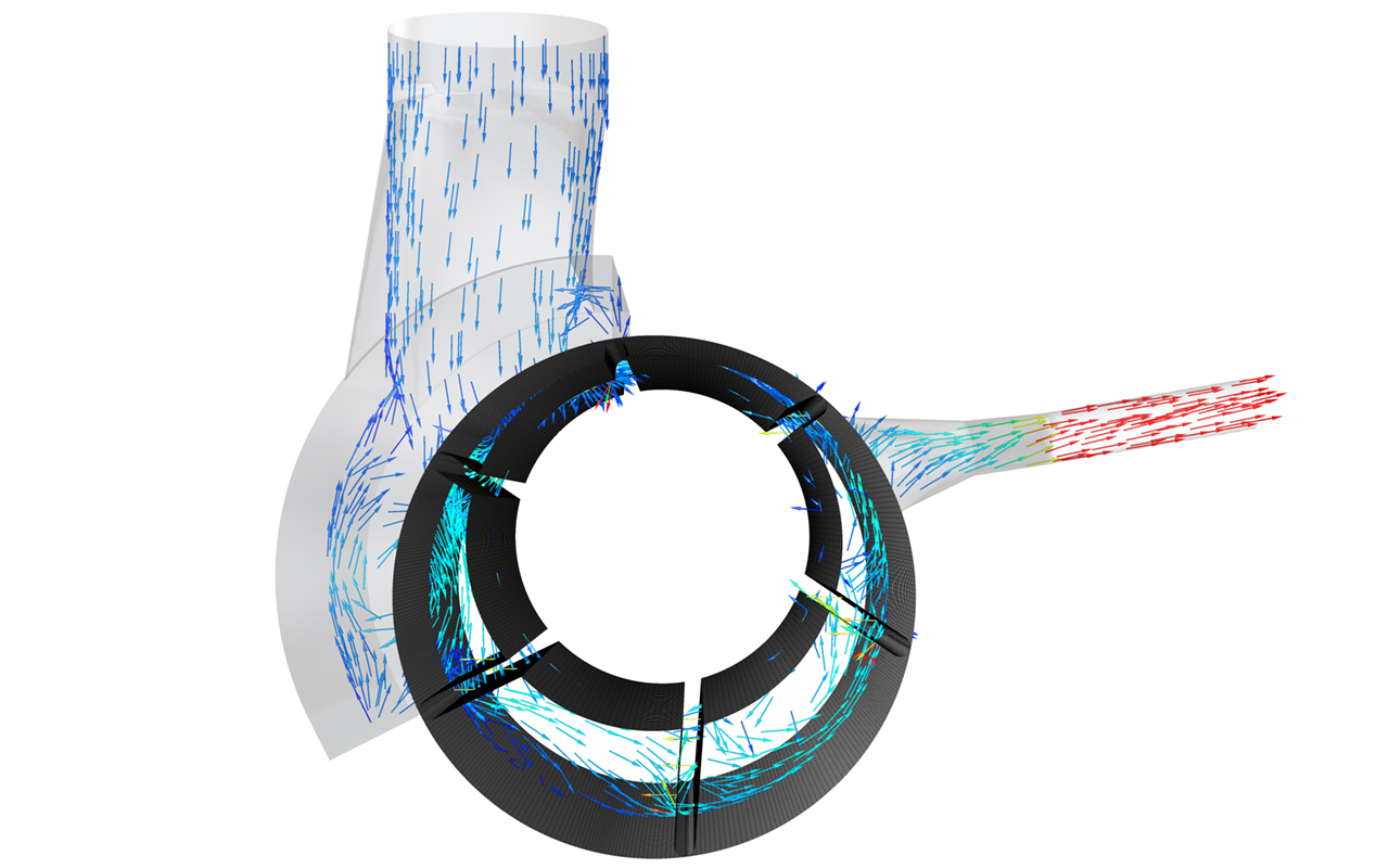 Velocity vectors inside the stator and working chambers